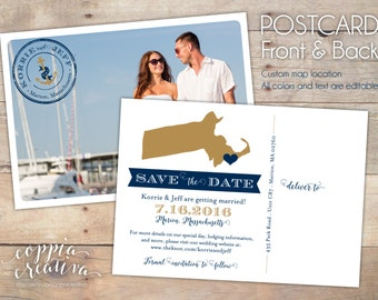 Save the Date Postcard - Nautical Save the Date - Photo Save the Date