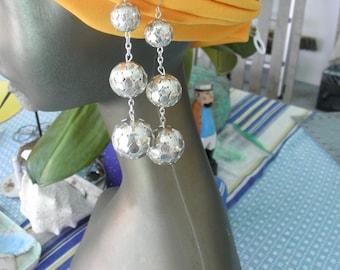 Vintage 1970's Triple Silver Dangle Balls  Earrings