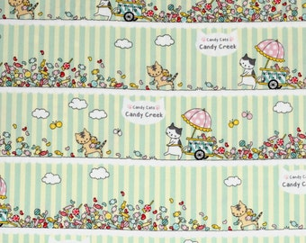 Japanese kawaii cat fabric in oxford cotton - 1/2 YD