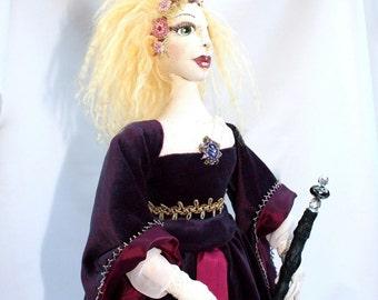 OOAK Cloth Art Doll Farryn Goblin Queen