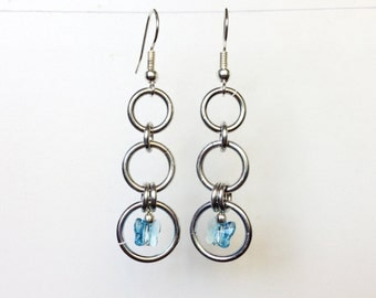Butterfly Earrings, Crystal Butterfly Earrings, Crystal Fairy Earrings, Hoop Earrings, Butterfly Dangle Hoop Earrings