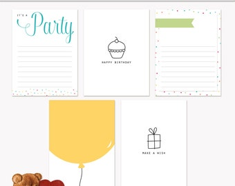 Printable Journaling Cards Happy Birthday for Scrapbook and Project Life INSTANT DOWNLOAD