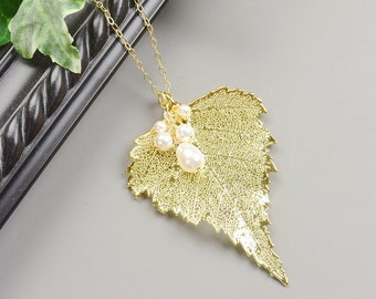 Gold Leaf Necklace - Real Leaf Pendant - White Swarovski Pearl Necklace -  Gold Leaf Pendant - Woodland Jewelry