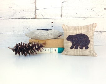 Brown Bear Balsam Pillow, Bear Decor Pillow, Cabin Pillow, Small Pillow, Woodland Bear, Rustic Home Decor, 6x6 Pillow, Natural Home Decor
