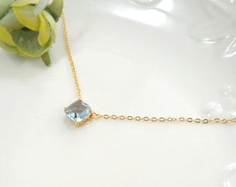 light sapphire necklace, light blue necklace, bridesmaid necklace, square crystal necklace, Bridesmaid Gift, glass stone, Everyday Necklace