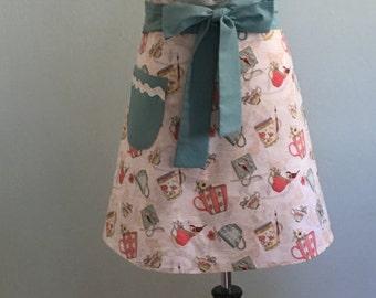 Cute Women's Retro Style Full Bib Hostess Apron/ Teacup Print Apron/ Kitchen Cooking Apron/Handmade Apron / Flirty Apron