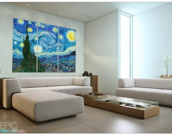 starry night by van gogh epic sized canvas wall art triptych 3 piece set