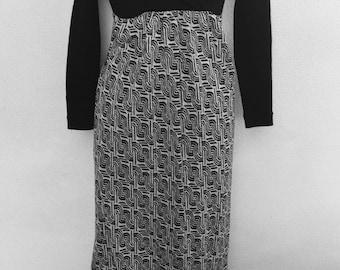 Vintage MOD blk/grey long/Maxi dress Geometric  print 1970 San Francisco Gold Sz 10/8