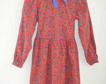 Girls Vintage Dress, Girls Dress, Girls Paisley Dress