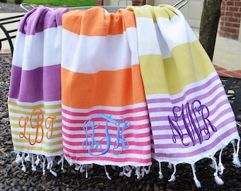 Monogram Turkish Towel, Peshtemal, Pestmal, Pestemal, Cotton Beach Towel, Monogram Beach Towel, Turkish Beach Towel, Fouta, Turkish Towels