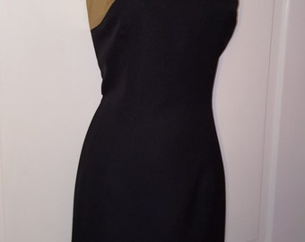 BLACK GOLD LBD // 90's Simple Metallic Gold Black Dress Size 7/8 New Year's 80's Wedding Formal Costume