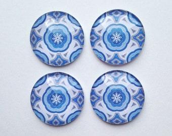 Glass Magnets - refrigerator magnets - Blue Magnets - pretty magnets - magnet set - decorative magnets - Office organization - blue decor