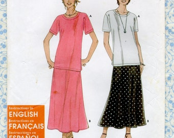 Simplicity 9277 Misses Easy 2 piece Dress Blouse Top Flared Skirt Womens Sewing Patterns S M L Bust 30 to 46 English French Spanish UNCUT
