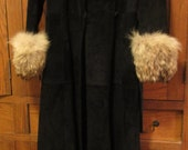 vintage belted genuine fur trimmed long black suede coat made in Canada small sz