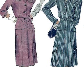 Unused Simplicity Pattern 4909 -LADIES PINSTRIPE SUIT- Original 1940s War Era Jacket & Skirt-Bust 34