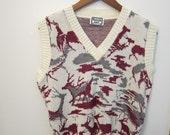 Men's Vintage Vest Winter Deer Sweater Vest SZ Mens Small