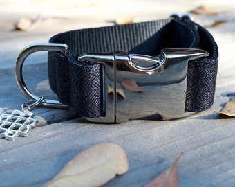 Black Herringbone Dog Collar - Halloween Dog Collar, Autumn, Fall, Adjustable, Silver Buckle, Metal Hardware