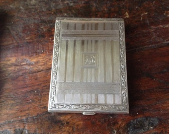 Art Deco Nickel Silver Cigarette Business Card Case Compact 1920s Chatelaine Matching Small Compact Original Box