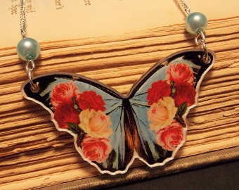 Vintage Inspired Butterfly Necklace - Blue Morpho