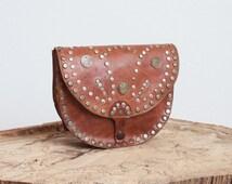 Moroccan Vintage Coins Bag Brown Studded Leather Shoulder Purse Crossbody Folk Boho Festival Handbag