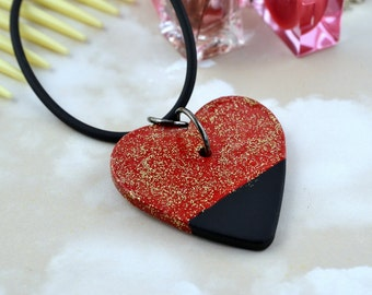 Wooden Heart - Red, Black and Gold Glitter - Pendant Necklace - Repurposed Nail Varnish.