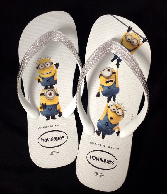 Minions Havaianas Fun Despicable Me White Flip Flops US 9/10 W w/ Swarovski Crystal Clear Bling Rhinestone Custom Shoes Glass Slippers