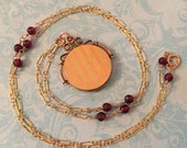 Vintage Locket, Rose and Yellow Gold Striped Locket, Fancy Metalwork and Swirls, Garnet & Rose Gold Chain, Gift for Her