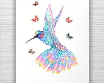 A3 Colorful Hummingbird Watercolor Print Bird/ Butterfly Print Hummingbird Painting Butterflies & Hummingbird Art Bird Painting Home Decor