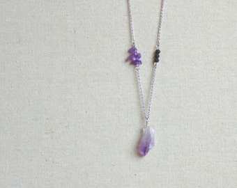 Essential Oil Necklace Diffuser Aromatherapy - Hypoallergenic Stainless Steel - Minimalist Diffuser • Amethyst & Lava