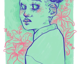 flowerboy // original 6 x 8 art print