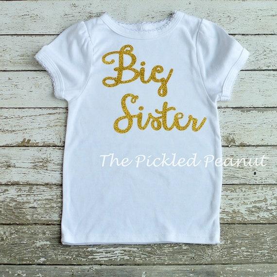 Big sister shirt gold big sister shirt glitter big sister for Big sister birth announcement shirts