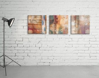 Collection of 3 square abstract art prints on canvas - ready to hang art - Housewarming gift