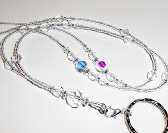 Sale Beaded Id Lanyard, Crystal Beaded Id Lanyard, Cruise Lanyard Necklace, Lanyard, Badge Holder, ID Badge Holder, Women Lanyards, LY22210