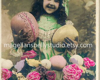 Easter Digital Download 1910's French RPPC  Adorable Girl With Easter Eggs  and Flowers Heureuses Paques