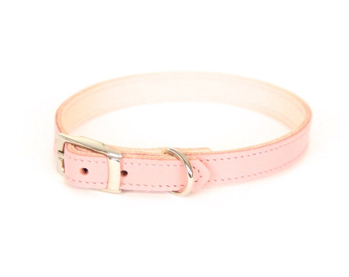Cat or Small Dog Collar // Pale Pink // Optional ID Tag