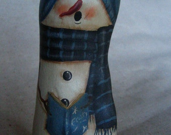 "5.5"" Blue Painted Wood Cypress Knee Snowman for Christmas  ***Reduced***ONE of a KIND"