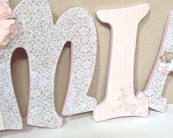 Custom Nursery Letters, Baby Name, Hanging Wooden Wall Letters, Girl Nursery Decor, Personalized Baby Shower Gift