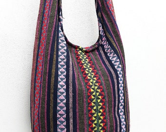 Woven Cotton Bag Hippie bag Hobo bag Boho bag Shoulder bag Sling bag Messenger bag Tote Crossbody bag Purse Women bag Handbags Long Strap