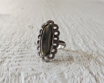SALE/Abalone Paua Shell Ring/Rustic Silver Tone Adjustable Ring/Statement Ring/Boho Ring/Zen/Raw/Ocean/Beach/Sea/Free Spirit/Gypsy/Indie