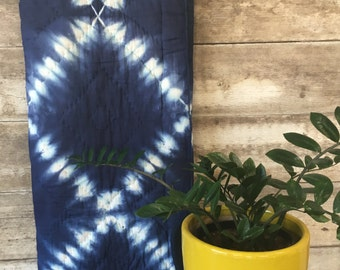 Wallis Levin hand-dyed white + deep blue Indigo Shibori Twin quilt bedspread Bohemian comforter SOFT 100% India Cotton