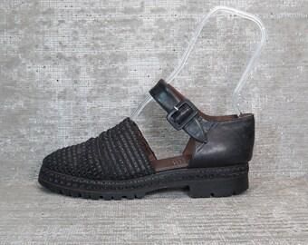 Vtg 90s Black Leather Platform Flatform Mesh Sandal Shoes 7.5