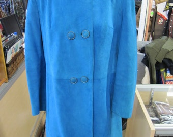 60s Jacket // Long Leather Coat // 1960s MOD // Rock and Roll // Blue Suede // Mad Men // Hipster // RARE // SMALL Medium