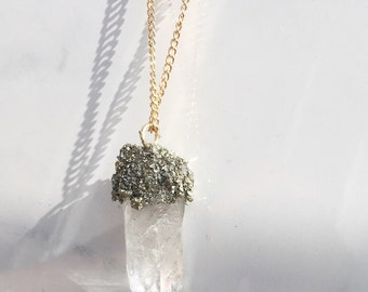 Large clear Quartz with pyrite necklace