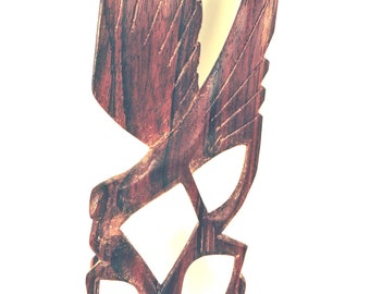 Carved Wood Bird Mid Century Modern Feeding Outstretched Wings Vintage Carving