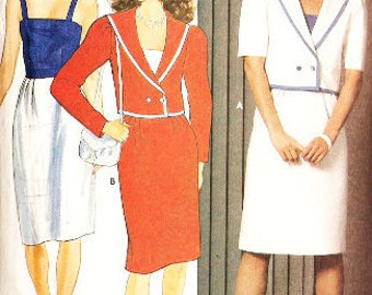 Butterick 4855 Retro 1980s Camisole Sun Dress and Double Breasted Jacket With Sailor Collar Sewing Pattern 14-18