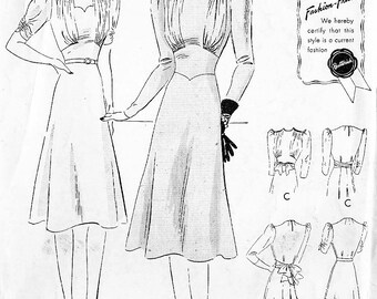 Butterick 8672 Misses' Vintage 30s/40s with Cinched Waist, Sleeve and Neckline Variations Sewing Pattern