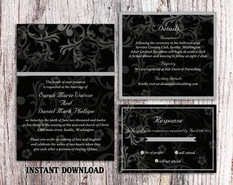 DIY Wedding Invitation Template Set Editable Word File Instant Download Printable Invitation Black Wedding Invitation Elegant Invitation