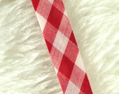 2 YARDS, 1990s Vintage, Bias Sewing Trim, Red White Gingham, Double Fold Cotton, 1/2 Inch Wide, L148