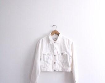 White Cropped 90s Denim Jacket