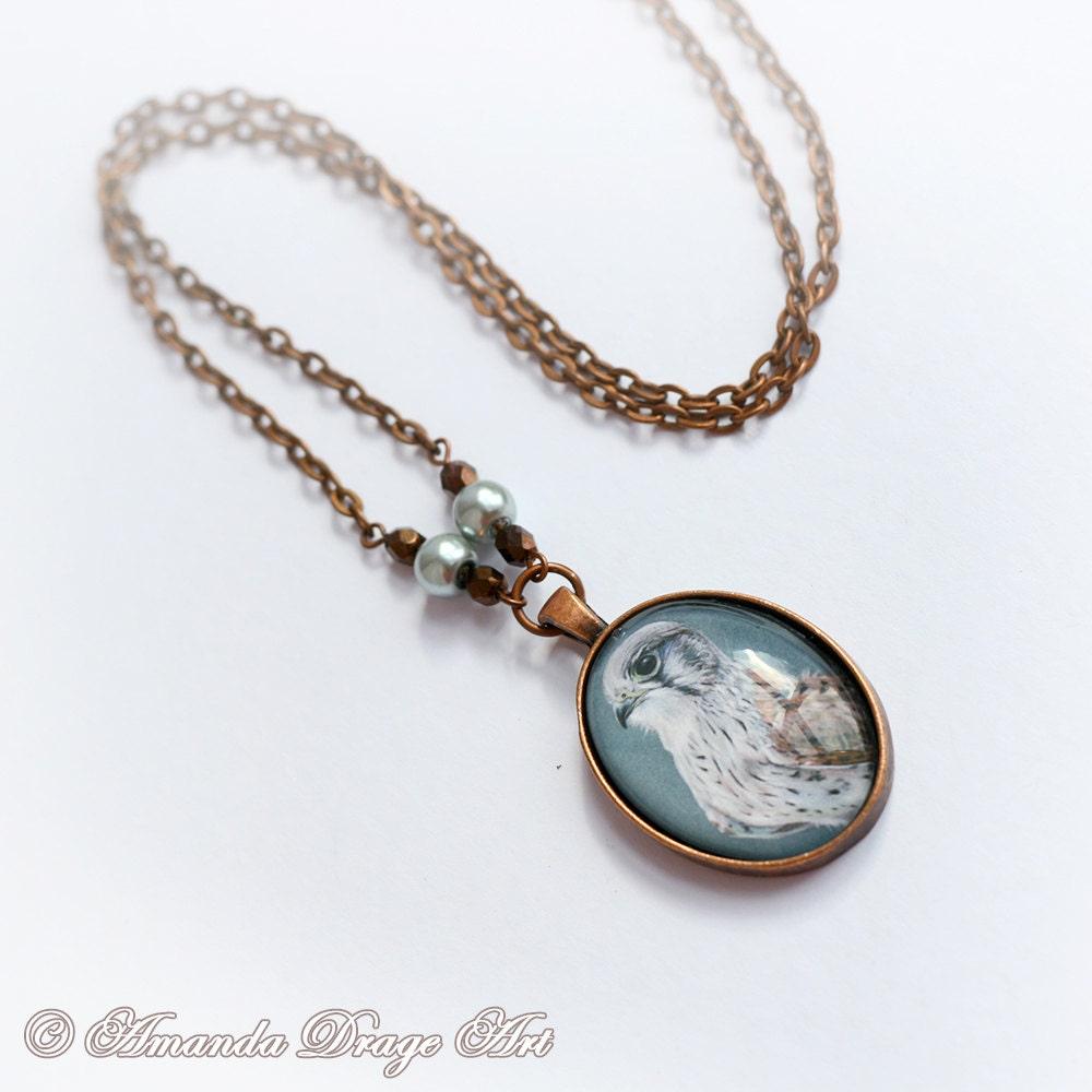copper kestrel necklace autumn jewellery hawk necklace